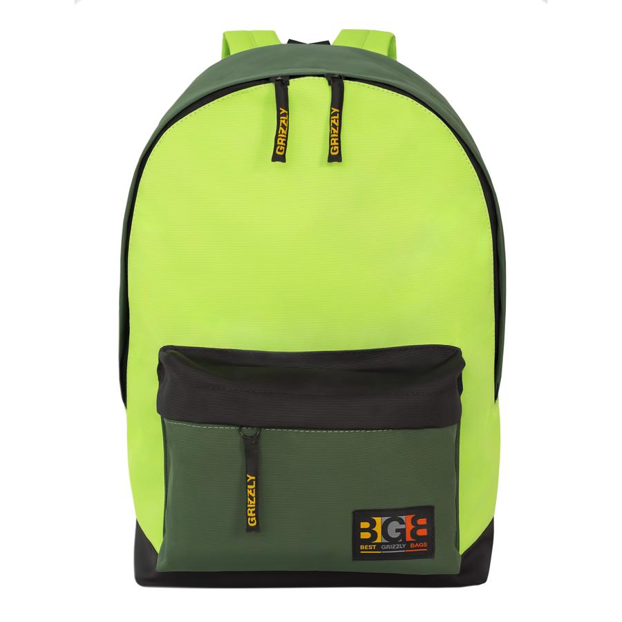 Рюкзак молодежный Grizzly, цвет: черный-салатовый. 18 л. RU-704-3/2RU-704-3/2Рюкзак молодежный, одно отделение, объемный карман на молнии на передней стенке, внутренний подвесной карман на молнии, укрепленная спинка, дополнительная ручка-петля, укрепленные лямки