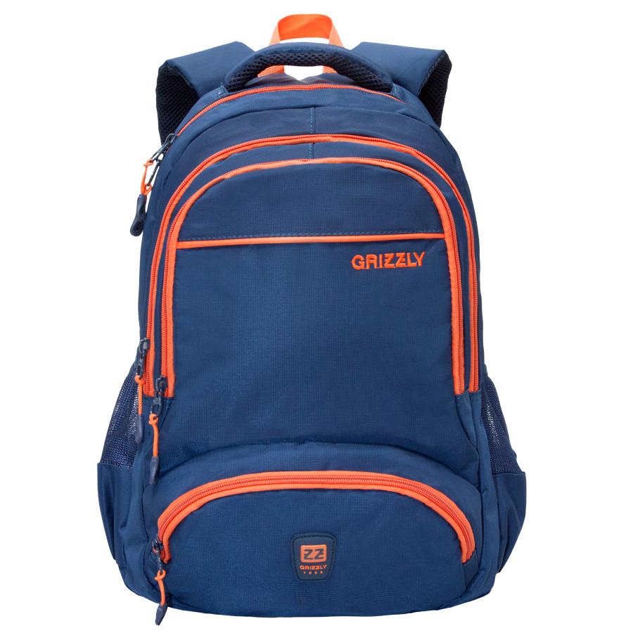 Рюкзак молодежный Grizzly, цвет: синий-оранжевый. 24 л. RU-618-6/2RU-618-6/2Рюкзак молодежный, два отделения, два объемных кармана на молнии на передней стенке, боковые карманы из сетки, боковые стяжки-фиксаторы, внутренний карман для ноутбука, внутренний подвесной карман на молнии, укрепленная спинка, укрепленные лямки