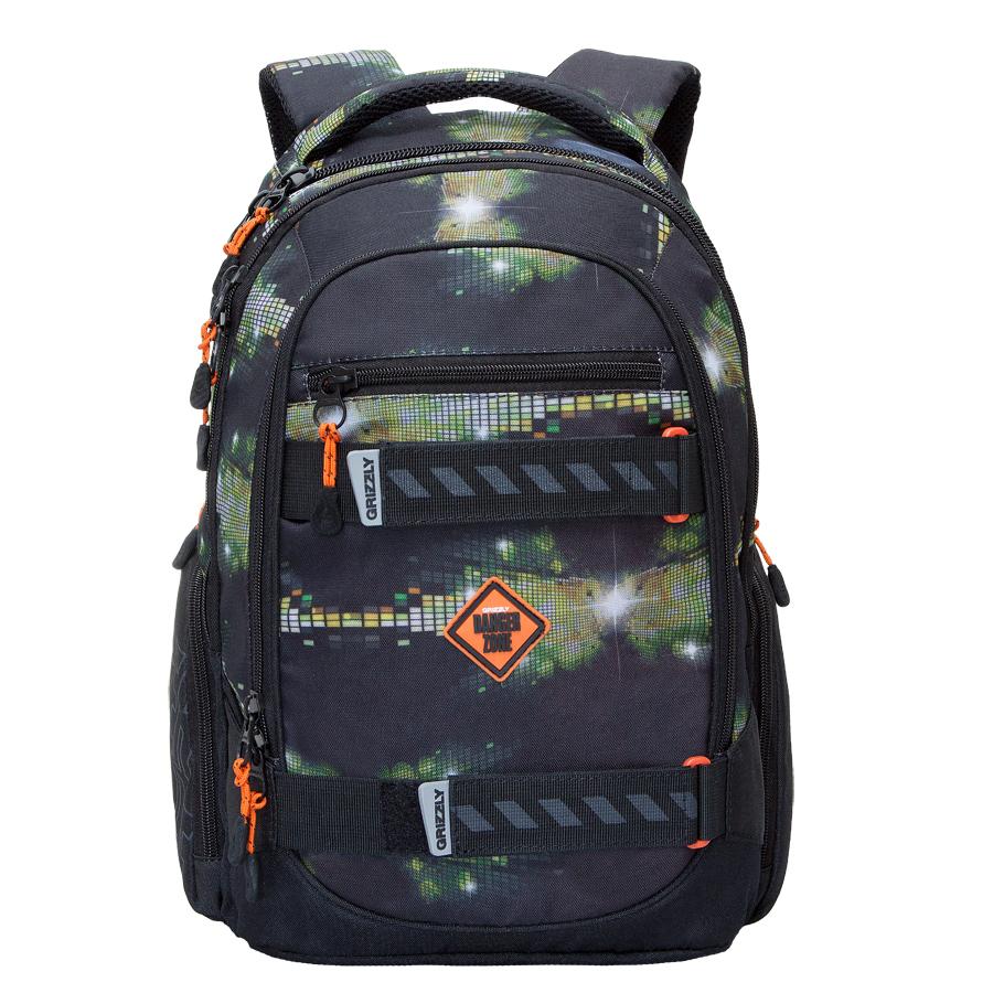 Рюкзак молодежный Grizzly, цвет: черный-зеленый. 24 л. RU-602-1/3RU-602-1/3Рюкзак молодежный, три отделения, карман на молнии на передней стенке, объемные боковые карманы на молнии, внутренний карман, внутренний подвесной карман на молнии, внутренний составной пенал-органайзер, жесткая анатомическая спинка, мягкая укрепленная ручка, укрепленные лямки