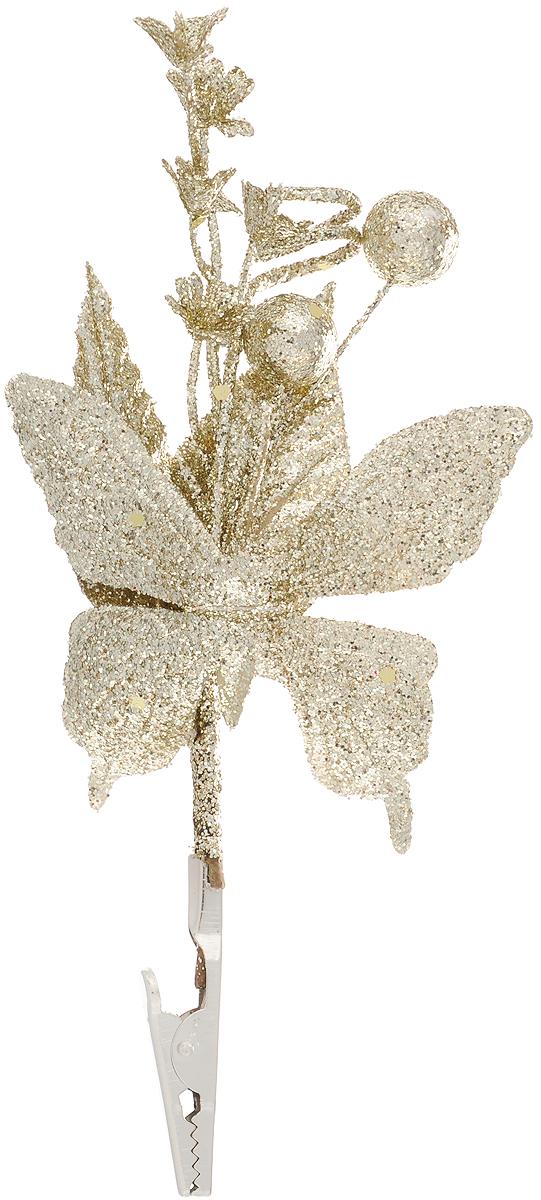 Украшение новогоднее Феникс-Презент Бабочка золотая, на клипсе, 14 x 12 см42503Новогоднее украшение Феникс-Презент Бабочка золотая выполнено из поливинилхлорида в форме бабочки с букетом. Изделие крепится с помощью клипсы. Украшение можно прикрепить в любом понравившемся вам месте. Но, конечно, удачнее всего оно будет смотреться на праздничной елке. Елочная игрушка - символ Нового года. Она несет в себе волшебство и красоту праздника. Создайте в своем доме атмосферу веселья и радости, украшая новогоднюю елку нарядными игрушками, которые будут из года в год накапливать теплоту воспоминаний. Материал: поливинилхлорид. Размеры: 14 х 12 см.