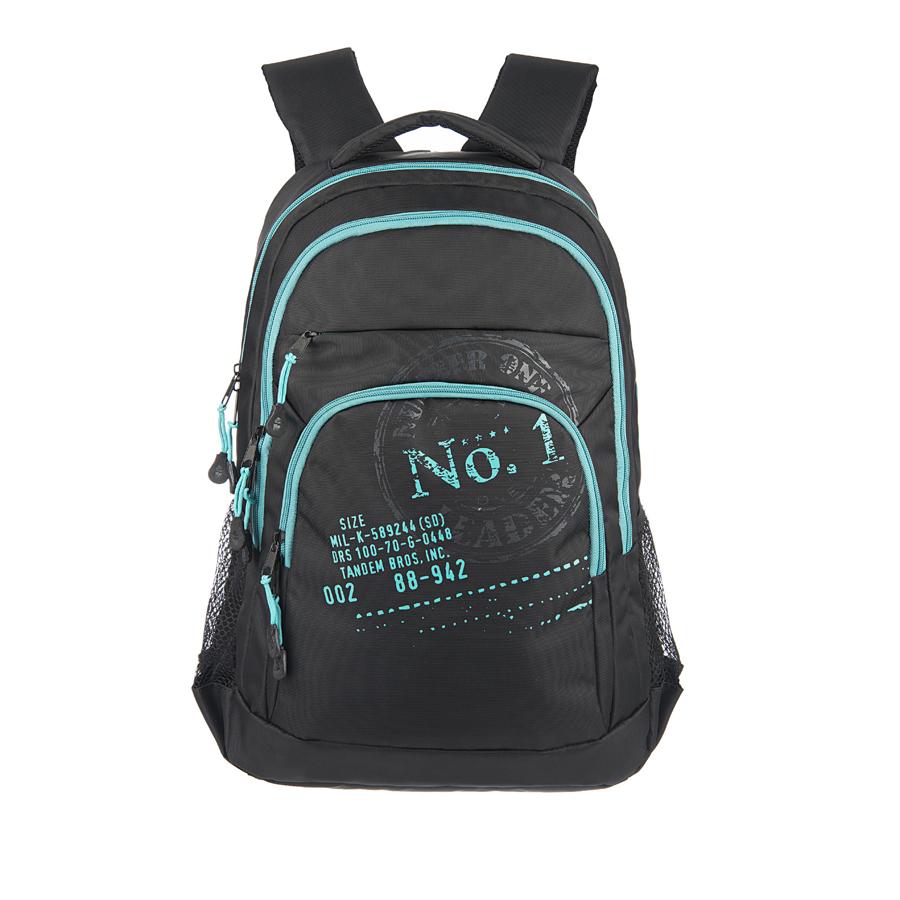 Рюкзак молодежный Grizzly, цвет: черный-бирюза. 22 л. RU-518-1/2RU-518-1/2Рюкзак молодежный, два отделения, карман на молнии на передней стенке, объемный карман на молнии на передней стенке, боковые карманы из сетки, внутренний карман-пенал для карандашей, анатомическая спинка, дополнительная ручка-петля, мягкая укрепленная ручка, нагрудная стяжка-фиксатор, укрепленные лямки