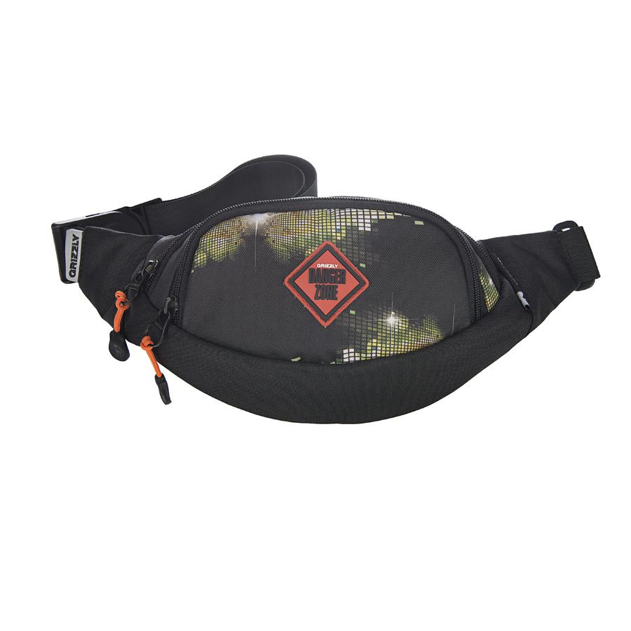 Сумка поясная Grizzly, цвет: черный-зеленый. 2 л. MS-602-3/3MS-602-3/3Поясная сумка, два отделения, задний карман на молнии