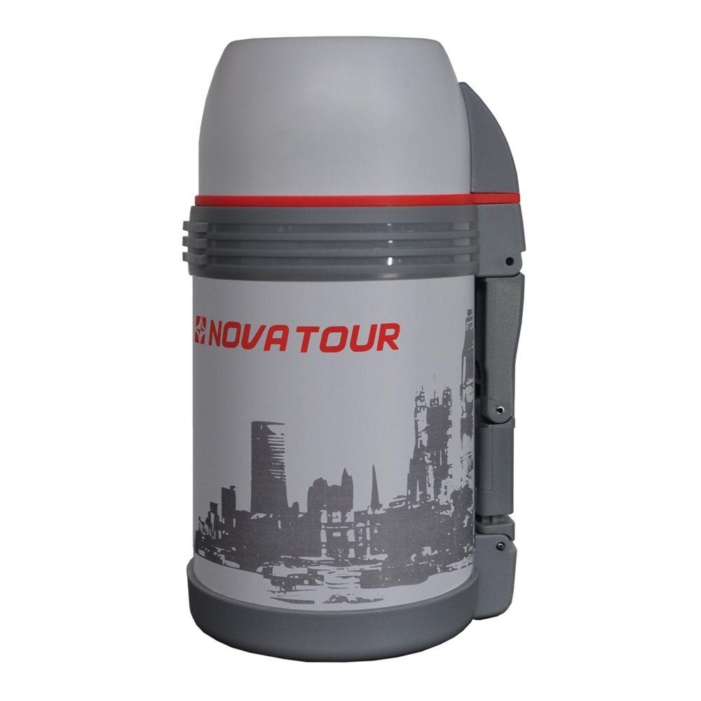 Термос Nova Tour Биг Бэн, цвет: серый, 1 л95912-910-00Термос с широким горлом, ёмкостью 1,0л, выполненный из пищевой нержавеющей стали, с поворотным клапаном (Достаточно повернуть пробку на пол-оборота чтобы налить содержимое из термоса), который дает возможность при наливании не открывать термос целиком для меньшего охлаждения содержимого. Складная пластмассовая рукоятка для удобства наливания содержимого. Регулируемый ремешок для переноски термоса в комплекте. Дополнительная пластиковая миска под крышкой термоса.
