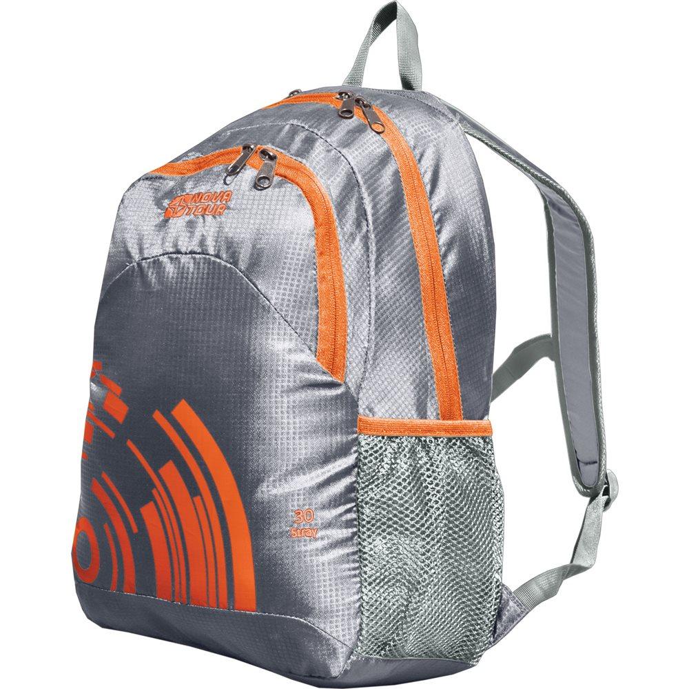 Рюкзак городской Nova Tour Стрэй, цвет: серый, оранжевый, 30 л13412-471-00Облегченный городской рюкзак с органайзером, карабином для ключей и боковыми карманами из сетки.