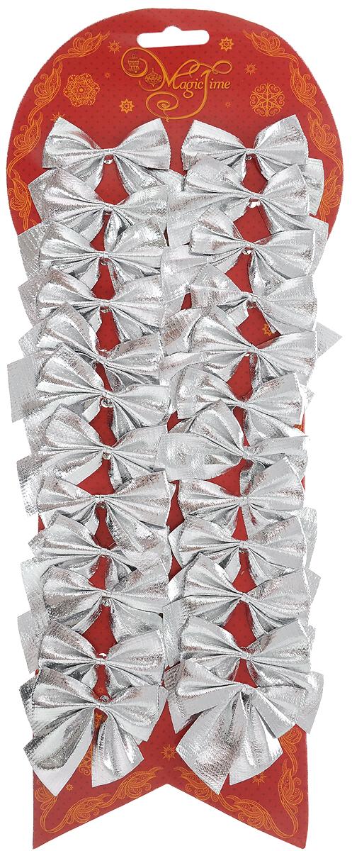 Набор новогодних украшений Magic Time Бант, цвет: серебристый, 24 шт. 4275942759Набор новогодних украшений Magic Time Бант прекрасно подойдет для праздничного декора новогодней ели. Набор состоит из 24 бантов, изготовленных из полиэстера. Для удобного размещения на елке с оборотной стороны банты оснащены двумя проволоками. Коллекция декоративных украшений принесет в ваш дом ни с чем не сравнимое ощущение волшебства! Откройте для себя удивительный мир сказок и грез. Почувствуйте волшебные минуты ожидания праздника, создайте новогоднее настроение вашим дорогим и близким. Размер украшения: 5 х 5 см.