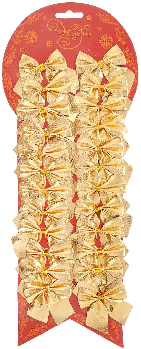 Набор новогодних украшений Magic Time Бант, цвет: золотистый, 24 шт. 4276042760Набор новогодних украшений Magic Time Бант прекрасно подойдет для праздничного декора новогодней ели. Набор состоит из 24 бантов, изготовленных из полиэстера. Для удобного размещения на елке с оборотной стороны банты оснащены двумя проволоками. Коллекция декоративных украшений принесет в ваш дом ни с чем не сравнимое ощущение волшебства! Откройте для себя удивительный мир сказок и грез. Почувствуйте волшебные минуты ожидания праздника, создайте новогоднее настроение вашим дорогим и близким. Размер украшения: 5 х 5 см.