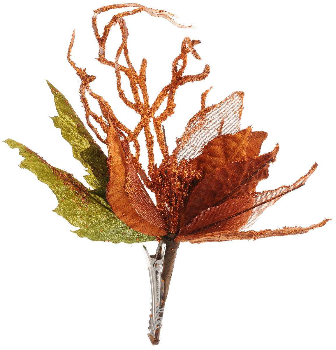 Украшение новогоднее Феникс-Презент Пуансеттия оранжевая, на клипсе, 13 x 16 см42501Новогоднее украшение Феникс-Презент Пуансеттия оранжевая выполнено из поливинилхлорида в форме букета из листьев. Изделие крепится с помощью клипсы. Украшение можно прикрепить в любом понравившемся вам месте. Но, конечно, удачнее всего оно будет смотреться на праздничной елке. Елочная игрушка - символ Нового года. Она несет в себе волшебство и красоту праздника. Создайте в своем доме атмосферу веселья и радости, украшая новогоднюю елку нарядными игрушками, которые будут из года в год накапливать теплоту воспоминаний. Материал: поливинилхлорид. Размеры: 13 х 16 см.