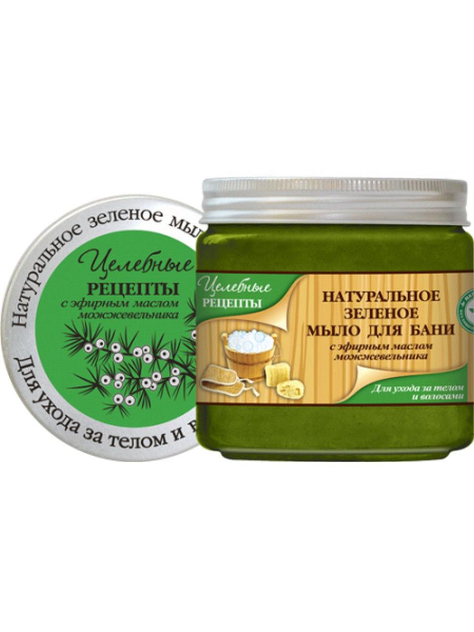 Целебные Рецепты Натуральное Зеленое мыло для бани для ухода за телом и волосами 500 мл. (Целебные рецепты)