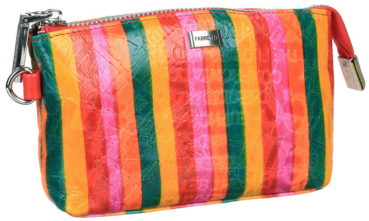 Косметичка женская Fabretti, цвет: розовый, красный, зеленый. 58100/1-colorful58100/1-colorfulЯркая и модная косметичка от итальянского бренда Fabretti выполнена из натуральной мягкой кожи с тиснением. Внутри находится одно отделение, которое разделено карманом на молнии на два отсека и один прорезной карман на молнии. Застегивается изделие на застежку-молнию. В комплекте съемный ремешок для запястья.