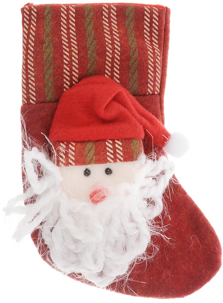 Украшение новогоднее подвесное Magic Time Дед Мороз в колпаке, 18 x 12 см42534Новогоднее украшение Magic Time Дед Мороз в колпаке прекрасно подойдет для праздничного декора вашего дома. Сувенир выполнен в виде носка из полиэстера. Он украшен аппликацией в виде Деда Мороза в колпаке. Изделие оснащено текстильной петелькой для подвешивания. Такая оригинальная фигурка оформит интерьер вашего дома или офиса в преддверии Нового года. Оригинальный дизайн и красочное исполнение создадут праздничное настроение. Кроме того, это отличный вариант подарка для ваших близких и друзей.