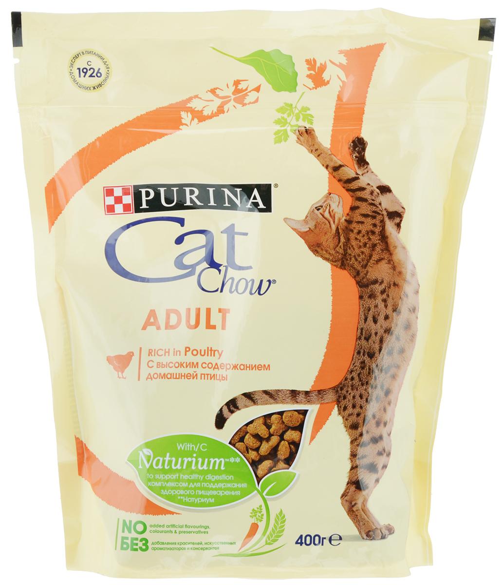 """Корм сухой """"Cat Chow"""", для взрослых кошек, с домашней птицей, 400 г 12292072"""