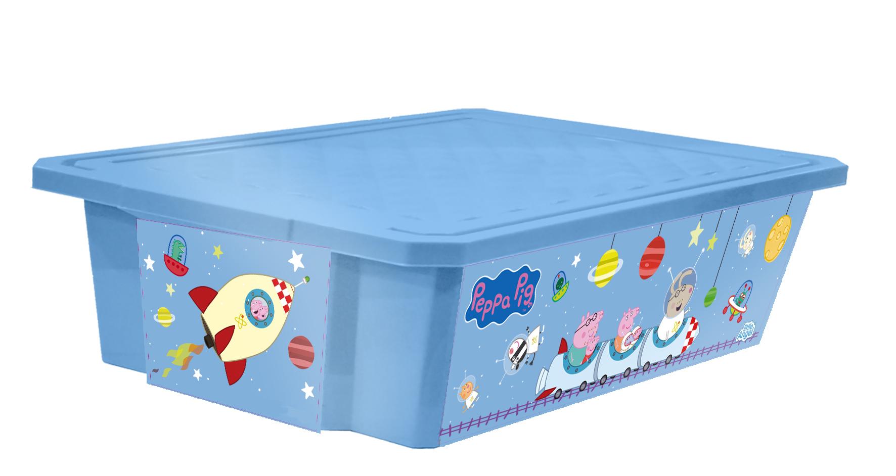 Ящик для хранения игрушек Little Angel Свинка Пеппа. X-BOX, цвет: голубой, 30 лLA0024РРГЛЛучшее решение для поддержания порядка в детской – это большой ящик на колесах. Все игрушки собраны в одном месте, ящик плотно закрывается крышкой, его всегда можно с легкостью переместить. Яркие декоры с любимыми героями наполнят детскую радостью и помогут приучить малыша к порядку. Преимущества: эксклюзивные декоры с любимыми героями; эффективные колеса-роллеры на дне; надежная крышка с привлекательной текстурой; возможность штабелирования ящиков друг на друга; декор размещен на всех сторонах ящика.