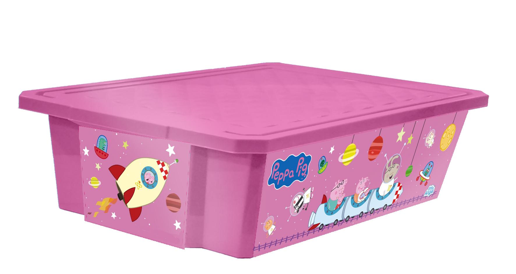 Ящик для хранения игрушек Little Angel Свинка Пеппа. X-BOX, цвет: розовый, 30 лLA0024РРРЗЛучшее решение для поддержания порядка в детской – это большой ящик на колесах. Все игрушки собраны в одном месте, ящик плотно закрывается крышкой, его всегда можно с легкостью переместить. Яркие декоры с любимыми героями наполнят детскую радостью и помогут приучить малыша к порядку. Преимущества: эксклюзивные декоры с любимыми героями; эффективные колеса-роллеры на дне; надежная крышка с привлекательной текстурой; возможность штабелирования ящиков друг на друга; декор размещен на всех сторонах ящика.