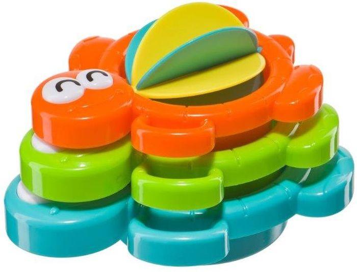 Happy Baby Игрушка для ванной Черепашка330070AQUA TURTLES - это развивающий набор складных формочки для ванны «Черепашка». Набор формочек Черепашка отлично подходит для открытий и экспериментов не только в ванной, но и на пляже! Купаясь с веселыми черепашками, малыш приобретает первые элементарные знания о воде, её свойствах. Развивающий набор состоит из 3-х веселых черепашек разного размера, цвета и разных игровых моментов. Самая большая черепашка подходит для зачерпывания и переливания воды. Лапки-держатели удобны для детских ручек. На дне средней и маленькой черепашек находятся отверстия, которые позволяют малышу экспериментировать с текучестью воды. В маленькую черепашку встроено водяное колесо, вращающееся при попадании на него струи воды. Во время игры у ребенка развивается зрительно-моторная координация. Можно оставить всех черепашек на воде, наблюдая как они будут постепенно заполняться водой. Одна черепашка останется на поверхности. Подобные игры помогают ребенку усвоить понятия объема. Возможность строить из...
