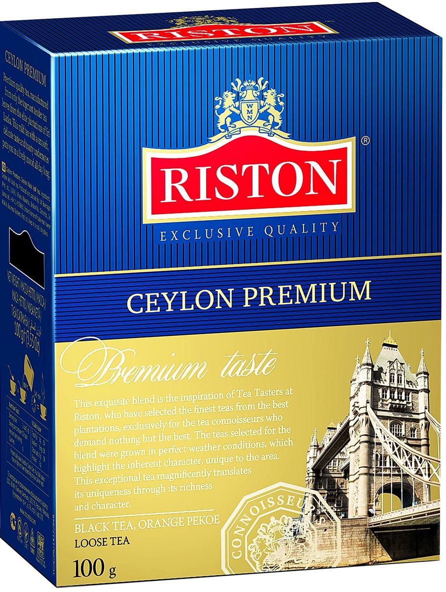 Riston Цейлонский Премиальный черный листовой чай, 100 г4792156001050Эксклюзивный сорт черного чая высшей категории, в состав которого входят только верхние листочки, собранные на элитных плантациях Шри-Ланки. Этот крепкий настой с мягким, деликатным вкусом и насыщенным ароматом создает отличный настрой на весь день. Стандарт ОР