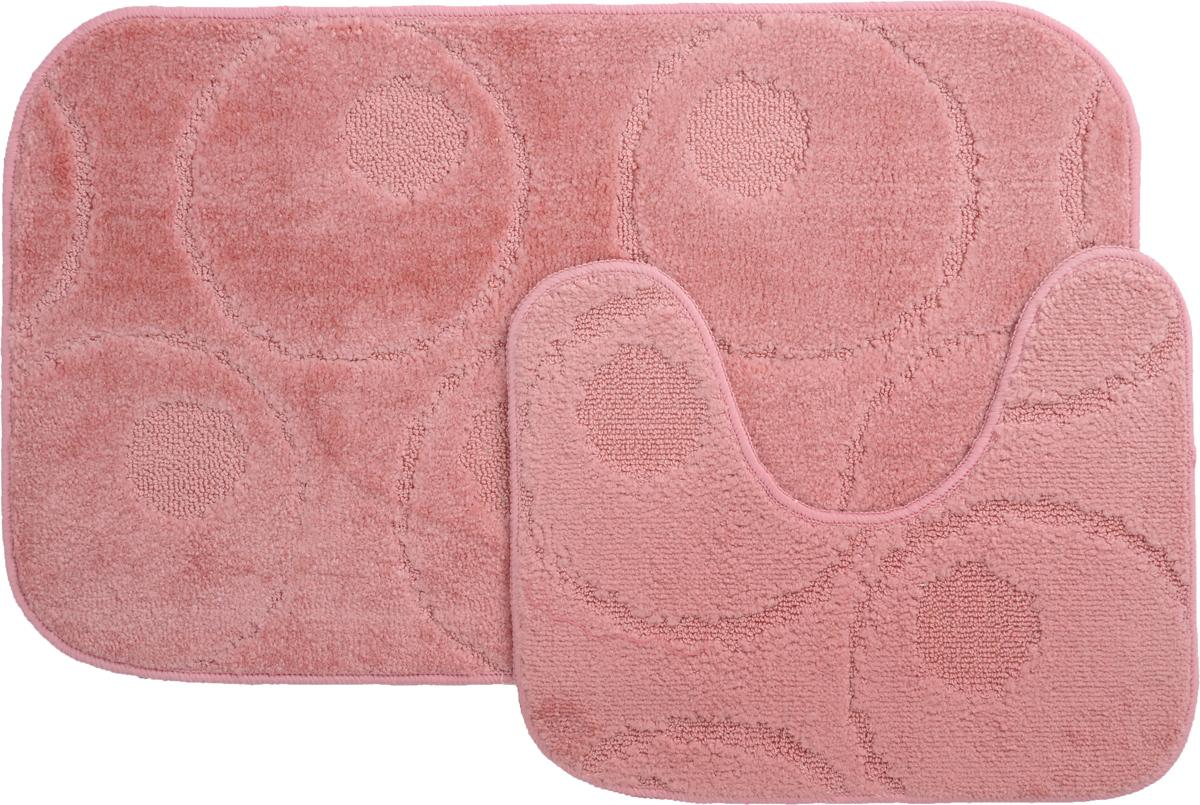 Набор ковриков для ванной MAC Carpet Рома. Круги, цвет: розовый, 50 х 80 см, 50 х 40 см, 2 шт21785Набор MAC Carpet Рома. Круги, выполненный из полипропилена, состоит из двух ковриков для ванной комнаты, один из которых имеет вырез под унитаз. Противоскользящее основание изготовлено из термопластичной резины. Коврики мягкие и приятные на ощупь, отлично впитывают влагу и быстро сохнут. Высокая износостойкость ковриков и стойкость цвета позволит вам наслаждаться покупкой долгие годы. Можно стирать вручную или в стиральной машине на деликатном режиме при температуре 30°С.