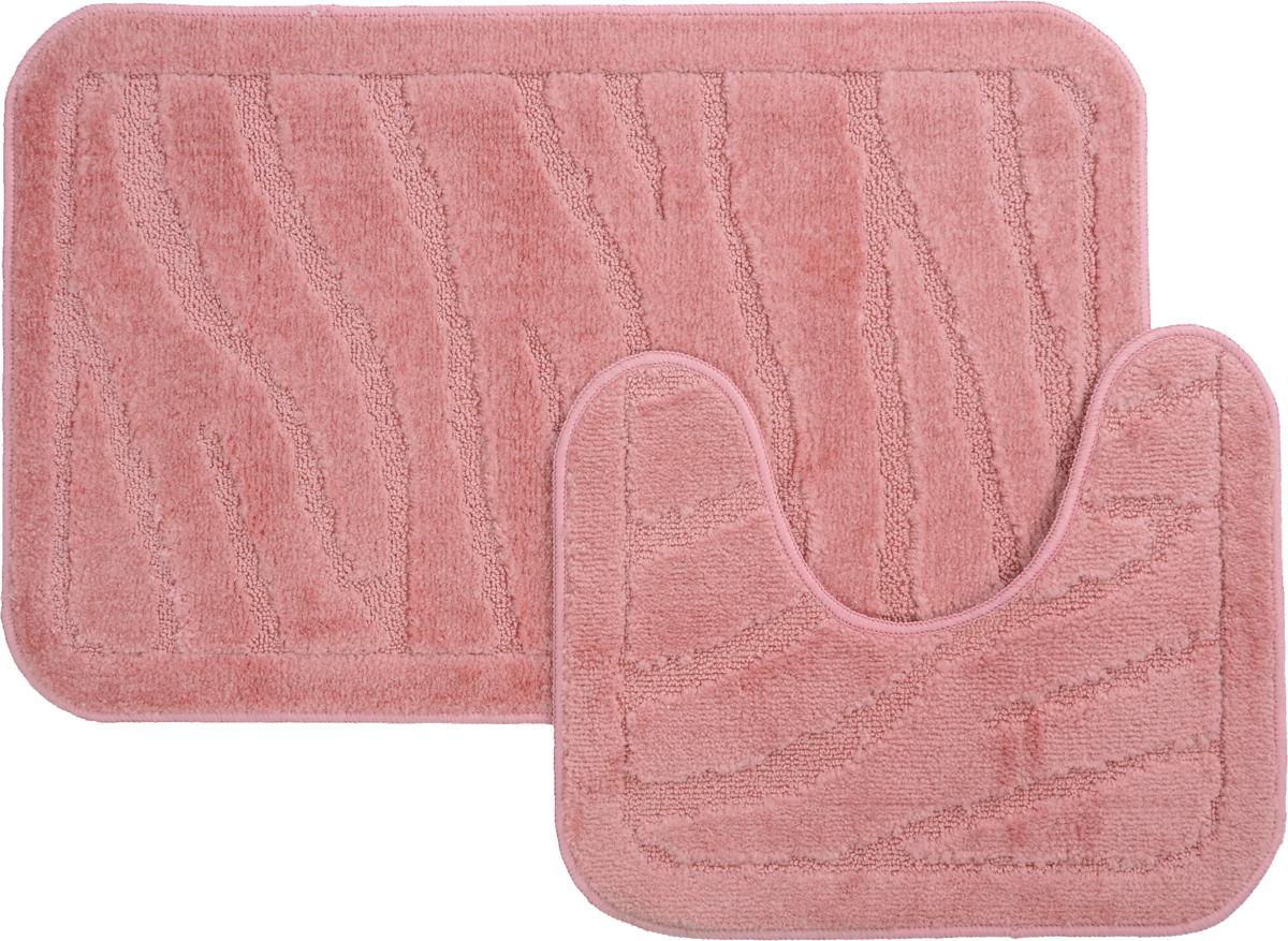 Набор ковриков для ванной MAC Carpet Рома. Линии, цвет: розовый, 50 х 80 см, 50 х 40 см, 2 шт21884Набор MAC Carpet Рома. Линии, выполненный из полипропилена, состоит из двух ковриков для ванной комнаты, один из которых имеет вырез под унитаз. Противоскользящее основание изготовлено из термопластичной резины. Коврики мягкие и приятные на ощупь, отлично впитывают влагу и быстро сохнут. Высокая износостойкость ковриков и стойкость цвета позволит вам наслаждаться покупкой долгие годы. Можно стирать вручную или в стиральной машине на деликатном режиме при температуре 30°С.