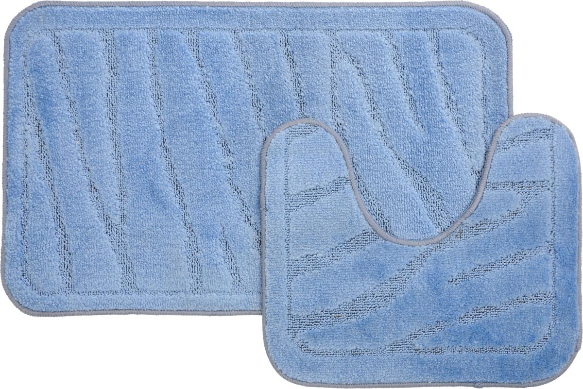 Набор ковриков для ванной MAC Carpet Рома. Линии, цвет: голубой, 50 х 80 см, 50 х 40 см, 2 шт21896Набор MAC Carpet Рома. Линии, выполненный из полипропилена, состоит из двух ковриков для ванной комнаты, один из которых имеет вырез под унитаз. Противоскользящее основание изготовлено из термопластичной резины. Коврики мягкие и приятные на ощупь, отлично впитывают влагу и быстро сохнут. Высокая износостойкость ковриков и стойкость цвета позволит вам наслаждаться покупкой долгие годы. Можно стирать вручную или в стиральной машине на деликатном режиме при температуре 30°С.