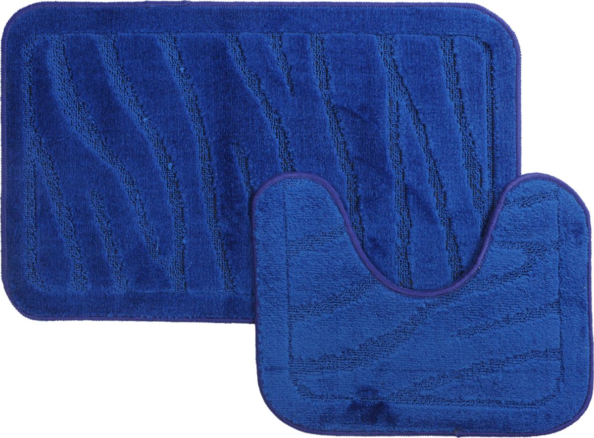 Набор ковриков для ванной MAC Carpet Рома. Линии, цвет: темно-синий, 50 х 80 см, 50 х 40 см, 2 шт21900Набор MAC Carpet Рома. Линии, выполненный из полипропилена, состоит из двух ковриков для ванной комнаты, один из которых имеет вырез под унитаз. Противоскользящее основание изготовлено из термопластичной резины. Коврики мягкие и приятные на ощупь, отлично впитывают влагу и быстро сохнут. Высокая износостойкость ковриков и стойкость цвета позволит вам наслаждаться покупкой долгие годы. Можно стирать вручную или в стиральной машине на деликатном режиме при температуре 30°С.
