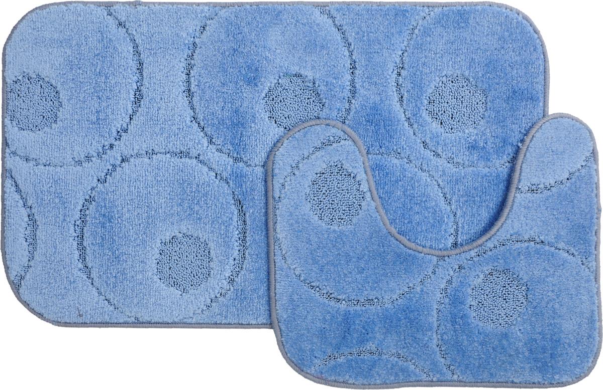 Набор ковриков для ванной MAC Carpet Рома. Круги, цвет: голубой, 50 х 80 см, 50 х 40 см, 2 шт21800Набор MAC Carpet Рома. Круги, выполненный из полипропилена, состоит из двух ковриков для ванной комнаты, один из которых имеет вырез под унитаз. Противоскользящее основание изготовлено из термопластичной резины. Коврики мягкие и приятные на ощупь, отлично впитывают влагу и быстро сохнут. Высокая износостойкость ковриков и стойкость цвета позволит вам наслаждаться покупкой долгие годы. Можно стирать вручную или в стиральной машине на деликатном режиме при температуре 30°С.