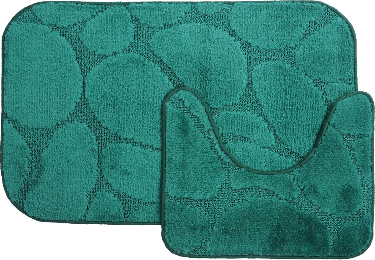 Набор ковриков для ванной MAC Carpet Рома. Камни, цвет: темно-зеленый, 50 х 80 см, 50 х 40 см, 2 шт21833Набор MAC Carpet Рома. Камни, выполненный из полипропилена, состоит из двух ковриков для ванной комнаты, один из которых имеет вырез под унитаз. Противоскользящее основание изготовлено из термопластичной резины. Коврики мягкие и приятные на ощупь, отлично впитывают влагу и быстро сохнут. Высокая износостойкость ковриков и стойкость цвета позволит вам наслаждаться покупкой долгие годы. Можно стирать вручную или в стиральной машине на деликатном режиме при температуре 30°С.