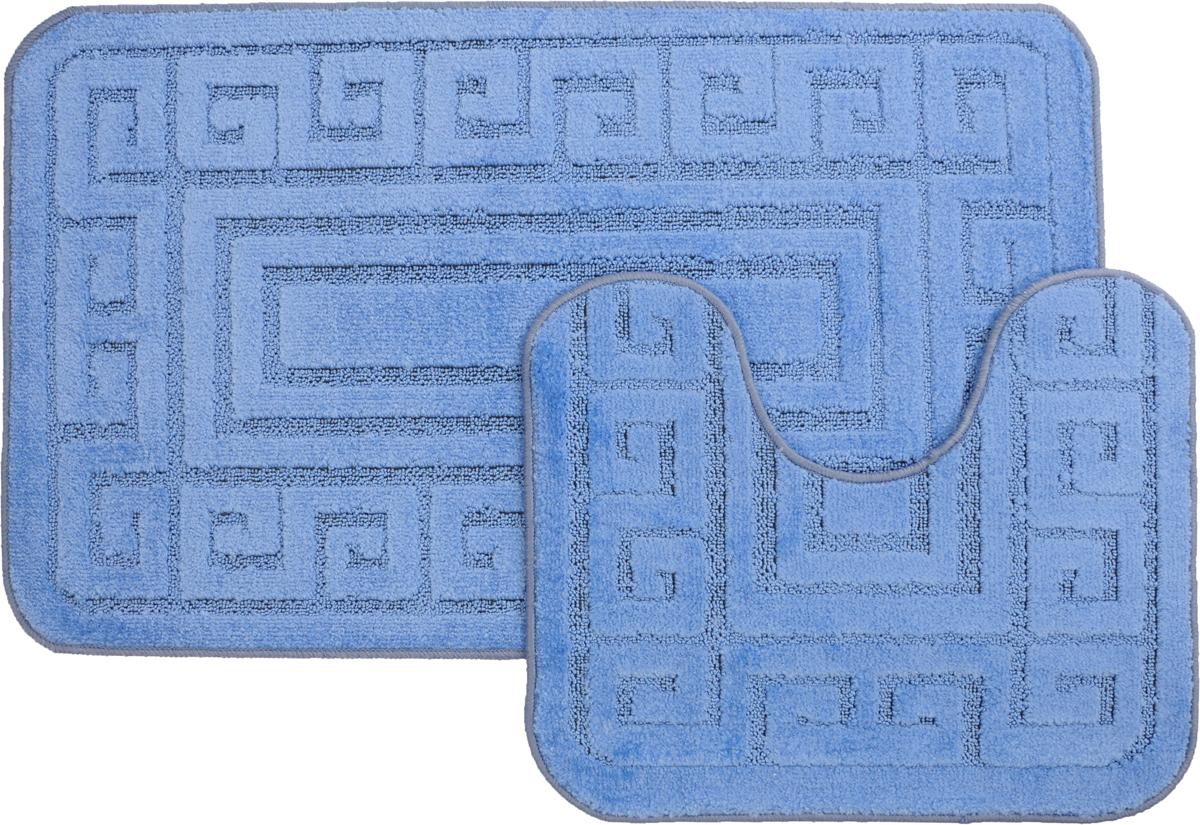 "Набор ковриков для ванной MAC Carpet ""Рома. Версаче"", цвет: голубой, 60 х 100 см, 50 х 60 см, 2 шт 21867"