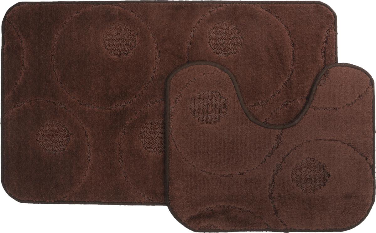 Набор ковриков для ванной MAC Carpet Рома. Круги, цвет: темно-коричневый, 60 х 100 см, 50 х 60 см, 2 шт21807Набор MAC Carpet Рома. Круги, выполненный из полипропилена, состоит из двух ковриков для ванной комнаты, один из которых имеет вырез под унитаз. Противоскользящее основание изготовлено из термопластичной резины. Коврики мягкие и приятные на ощупь, отлично впитывают влагу и быстро сохнут. Высокая износостойкость ковриков и стойкость цвета позволит вам наслаждаться покупкой долгие годы. Можно стирать вручную или в стиральной машине на деликатном режиме при температуре 30°С.