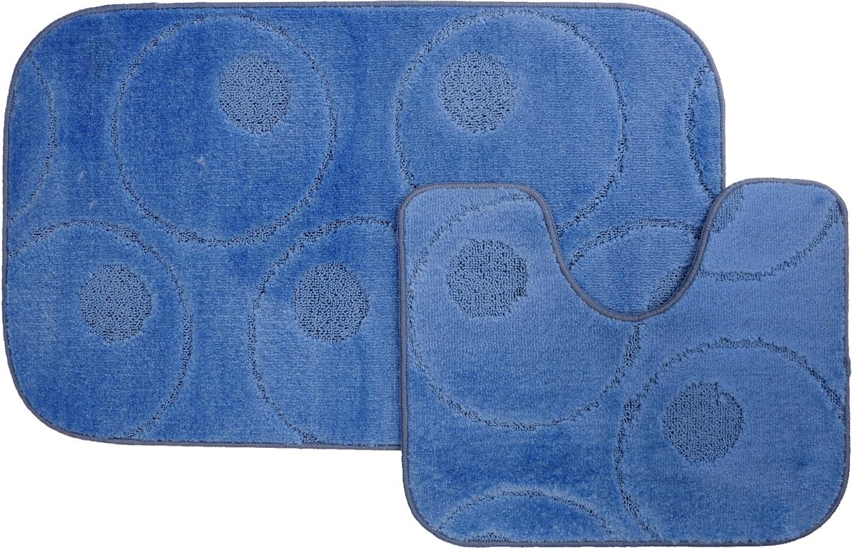 Набор ковриков для ванной MAC Carpet Рома. Круги, цвет: синий, 60 х 100 см, 50 х 60 см, 2 шт21799Набор MAC Carpet Рома. Круги, выполненный из полипропилена, состоит из двух ковриков для ванной комнаты, один из которых имеет вырез под унитаз. Противоскользящее основание изготовлено из термопластичной резины. Коврики мягкие и приятные на ощупь, отлично впитывают влагу и быстро сохнут. Высокая износостойкость ковриков и стойкость цвета позволит вам наслаждаться покупкой долгие годы. Можно стирать вручную или в стиральной машине на деликатном режиме при температуре 30°С.