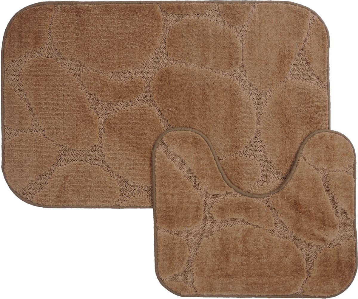 Набор ковриков для ванной MAC Carpet Рома. Камни, цвет: коричневый, 60 х 100 см, 50 х 60 см, 2 шт21814Набор MAC Carpet Рома. Камни, выполненный из полипропилена, состоит из двух ковриков для ванной комнаты, один из которых имеет вырез под унитаз. Противоскользящее основание изготовлено из термопластичной резины. Коврики мягкие и приятные на ощупь, отлично впитывают влагу и быстро сохнут. Высокая износостойкость ковриков и стойкость цвета позволит вам наслаждаться покупкой долгие годы. Можно стирать вручную или в стиральной машине на деликатном режиме при температуре 30°С.