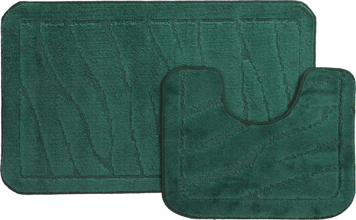 Набор ковриков для ванной MAC Carpet Рома. Линии, цвет: темно-зеленый, 60 х 100 см, 50 х 60 см, 2 шт21891Набор MAC Carpet Рома. Линии, выполненный из полипропилена, состоит из двух ковриков для ванной комнаты, один из которых имеет вырез под унитаз. Противоскользящее основание изготовлено из термопластичной резины. Коврики мягкие и приятные на ощупь, отлично впитывают влагу и быстро сохнут. Высокая износостойкость ковриков и стойкость цвета позволит вам наслаждаться покупкой долгие годы. Можно стирать вручную или в стиральной машине на деликатном режиме при температуре 30°С.