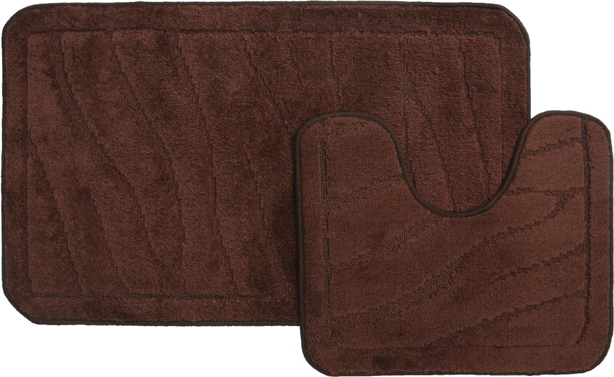 Набор ковриков для ванной MAC Carpet Рома. Линии, цвет: темно-коричневый, 60 х 100 см, 50 х 60 см, 2 шт21903Набор MAC Carpet Рома. Линии, выполненный из полипропилена, состоит из двух ковриков для ванной комнаты, один из которых имеет вырез под унитаз. Противоскользящее основание изготовлено из термопластичной резины. Коврики мягкие и приятные на ощупь, отлично впитывают влагу и быстро сохнут. Высокая износостойкость ковриков и стойкость цвета позволит вам наслаждаться покупкой долгие годы. Можно стирать вручную или в стиральной машине на деликатном режиме при температуре 30°С.