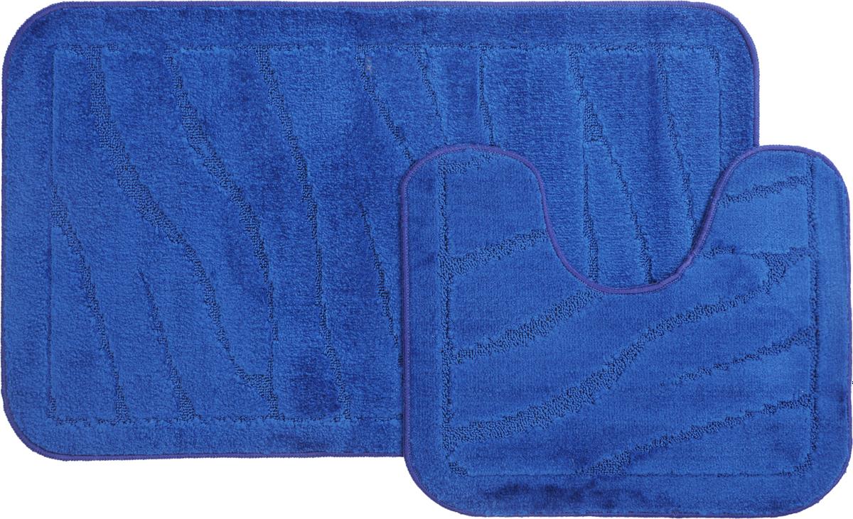 Набор ковриков для ванной MAC Carpet Рома. Линии, цвет: темно-синий, 60 х 100 см, 50 х 60 см, 2 шт21899Набор MAC Carpet Рома. Линии, выполненный из полипропилена, состоит из двух ковриков для ванной комнаты, один из которых имеет вырез под унитаз. Противоскользящее основание изготовлено из термопластичной резины. Коврики мягкие и приятные на ощупь, отлично впитывают влагу и быстро сохнут. Высокая износостойкость ковриков и стойкость цвета позволит вам наслаждаться покупкой долгие годы. Можно стирать вручную или в стиральной машине на деликатном режиме при температуре 30°С.