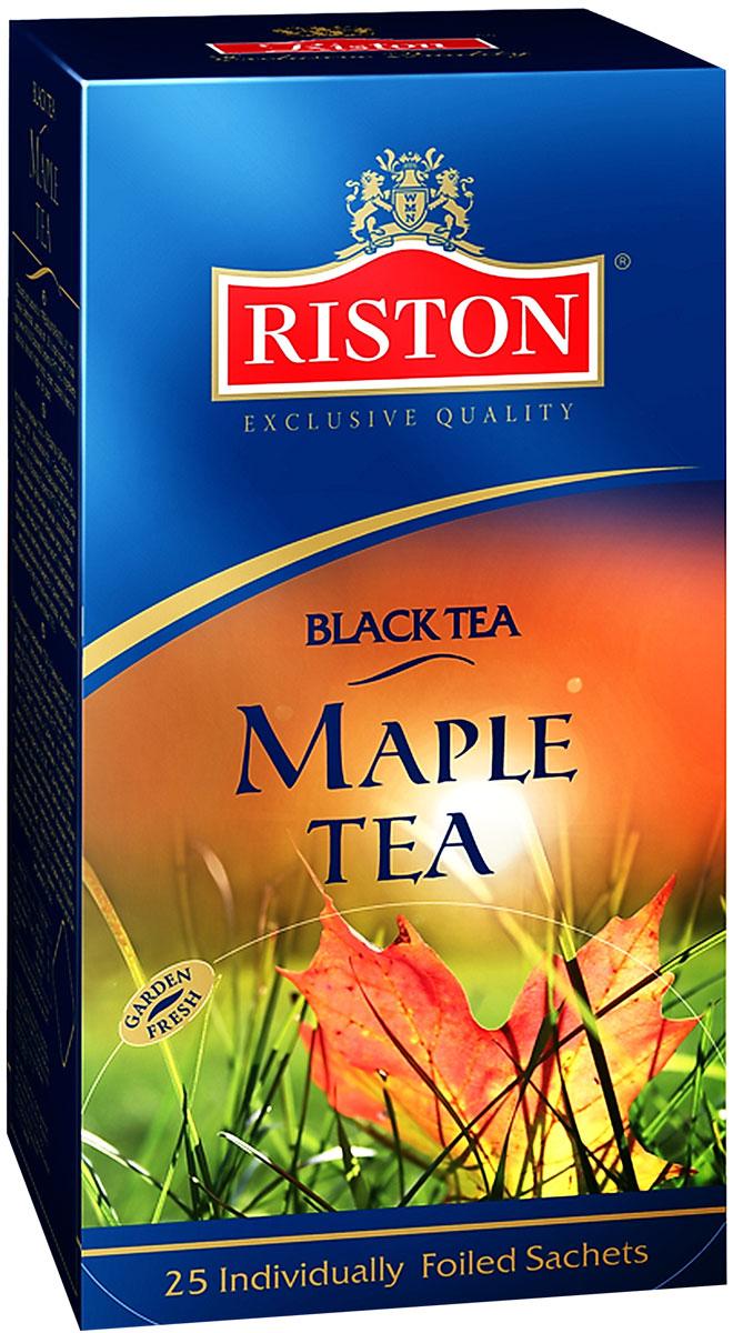 Riston Кленовый Сироп черный чай в пакетиках, 25 шт4792156005249Пикантная сладость кленового сиропа, нежных сливок и карамели в сочетании с черным чаем создают изысканный сливочный вкус и сладкий насыщенный аромат. Состав: чай черный байховый цейлонский мелкий, ароматизаторы, идентичные натуральным: кленовый сироп, сливки, карамель.