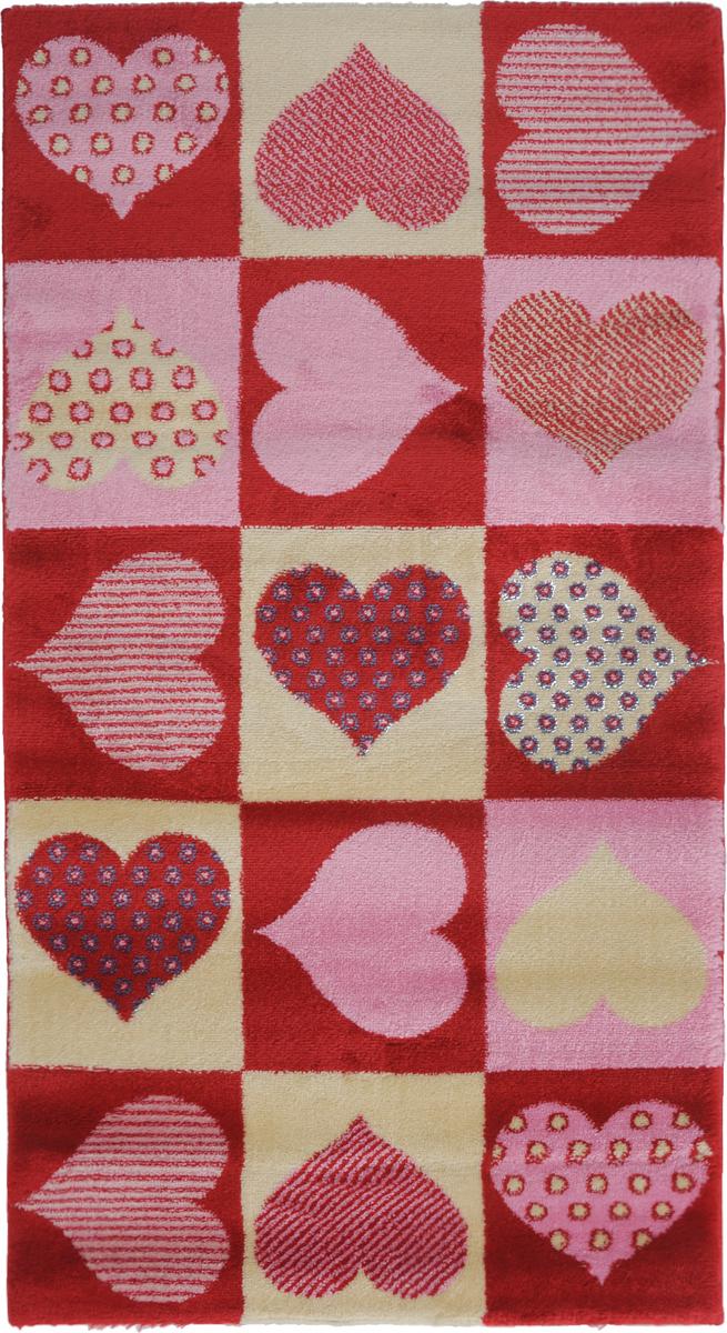 Ковер Kamalak Tekstil Love, прямоугольный, 60 x 110 смУКД-2036Ковер Kamalak Tekstil Love изготовлен из высококачественного полипропилена. Полипропилен износостоек, нетоксичен, не впитывает влагу, не провоцирует аллергию. Структура волокна в полипропиленовых коврах гладкая, поэтому грязь не будет въедаться и скапливаться на ворсе. Практичный и износоустойчивый ворс не истирается и не накапливает статическое электричество. Ковер обладает хорошими показателями теплостойкости и шумоизоляции. Оригинальный рисунок позволит гармонично оформить интерьер комнаты или гостиной. За счет невысокого ворса ковер легко чистить. При надлежащем уходе синтетический ковер прослужит долго, не утратив ни яркости узора, ни блеска ворса, ни упругости. Самый простой способ избавить изделие от грязи - пропылесосить его с обеих сторон (лицевой и изнаночной). Влажная уборка с применением шампуней и моющих средств не противопоказана. Хранить рекомендуется в свернутом рулоном виде.