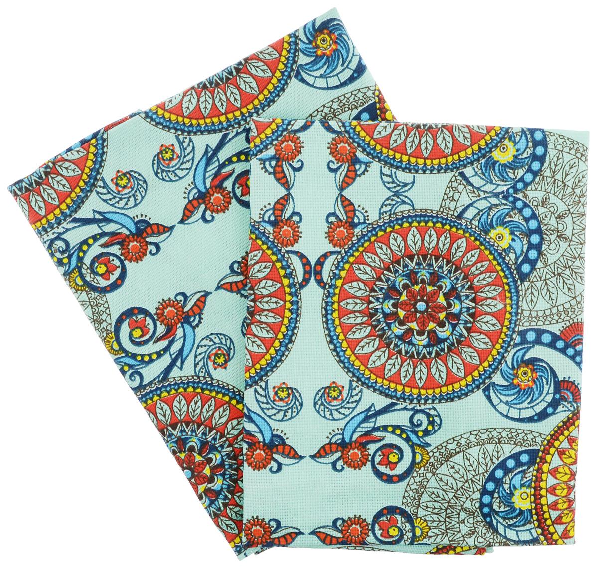 Набор кухонных полотенец Letto Орнамент, 47 х 68 см, 2 штKR-02_ментоловыйНабор Letto состоит из двух прямоугольных кухонных полотенец, оформленных красочным орнаментом. Изделия выполнены из рогожки (натуральный 100% хлопок). Изысканный дизайн дополнит интерьер, а натуральная мягкая ткань обладает прекрасным впитывающим свойством, что незаменимо на кухне! Комплект полотенец для кухни Letto - отличное приобретение для каждой хозяйки. Размер одного полотенца: 47 х 68 см.