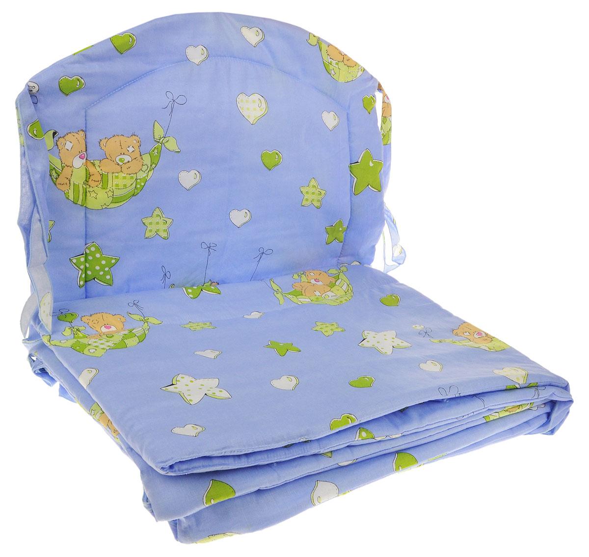 Фея Борт комбинированный 405 Мишка в гамаке цвет голубой1045_голубойКомбинированный бортик в кроватку Фея Мишка выполнен из высококачественных материалов. Бортик крепится к кроватке с помощью специальных завязок, благодаря чему его можно поместить в любую детскую кроватку. Он защитит малыша от сквозняков, а когда ребенок подрастет и начнет вставать - от ударов при возможных падениях. Малыш с удовольствием будет разглядывать забавные рисунки. Красочный бортик в кроватку выполняет эстетическую функцию, делая внешний вид кроватки еще прекраснее. Бортик обеспечит изолированность и уют внутри кроватки для малыша во время его отдыха.