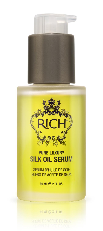 Rich Интенсивная сыворотка -масло для шелковистости и блеска волос без смывания 60 МЛ150204Несмываемая сыворотка делает волосы сияющими, гладкими, шелковистыми на ощупь. Идеально подходит для частого расчесывания, сглаживает чешуйки волос, предотвращает спутывание и появление узелков. Питает у увлажняет волосы натуральными маслами, не утяжеляет волос, быстро впитывается.