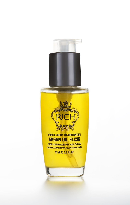 Rich Регенерирующий эликсир на основе арганового масла, 70 мл150212Использование Регенерирующего элексира на основе арганового масла делает волосы мягкими, более здоровыми и полными блеска от корней до кончиков. Быстро впитывается в волосы, не оставляя жирного блеска, делает волосы более послушними гладкими.