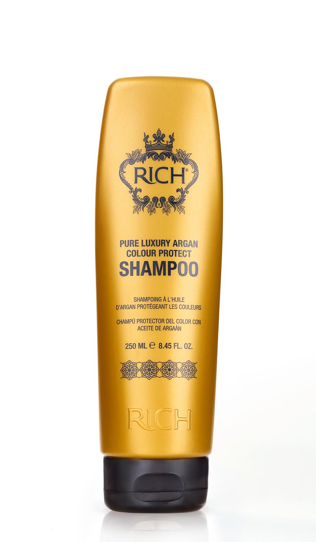 Rich Шампунь для окрашенных волос на основе арганового масла, 250 мл150270Шампунь на основе Арганового масла защищает цвет окрашенных волос, питает и увлажняет. Восстанавливает поврежденную структуру волос после химических процедур и укладки горячими приборами