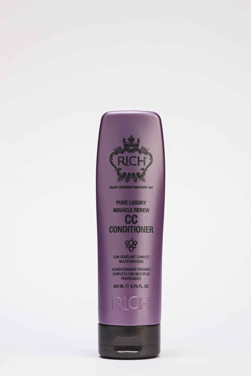 Rich Кондиционер СС чудесное возрождение, 200 мл150601Придаёт объём, оживляет и борется с признаками старения.Микроэлеенты, витамины и минералы ламинарии ускоряют выработку коллагена, способствующему уплотнению и силе волоса.Входящие в состав протеины гидролизованного зерна пшеницы и сои питают и укрепляют волосы, масло аргании придает волосам сияние и шелковистость.Защищает волосы от UV излучения и высоких температур.