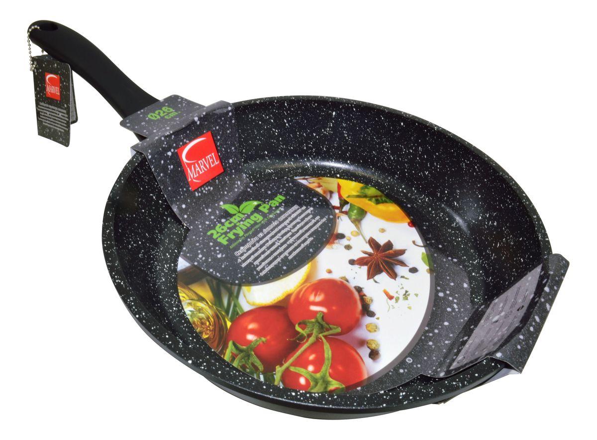 Сковорода Marvel Greblon Non-Stick, с антипригарным покрытием. Диаметр 26 см43264Сковорода Marvel Greblon Non-Stick выполнена из алюминия с антипригарным покрытием. Такое покрытие исключает прилипание и пригорание пищи к поверхности посуды, обеспечивает легкость мытья посуды, исключает необходимость использования большого количества масла, что способствует приготовлению здоровой пищи с пониженной калорийностью. Изделие оснащено пластиковой ручкой. Сковорода подходит для газовых, электрических и стеклокерамических плит.