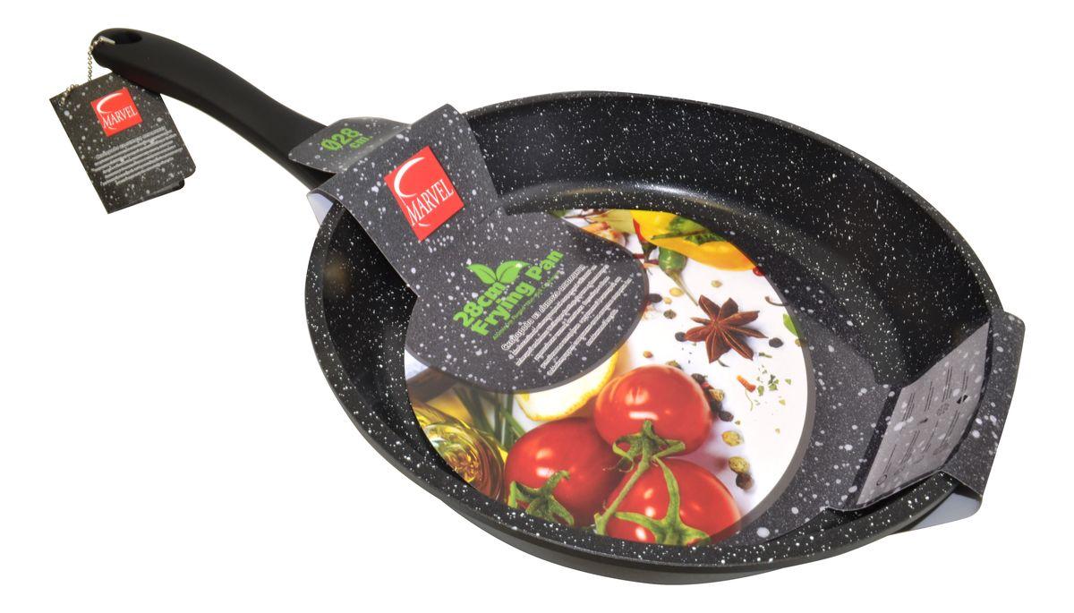 Сковорода Marvel Greblon Non-Stick, с антипригарным покрытием. Диаметр 28 см43288Сковорода Marvel Greblon Non-Stick выполнена из алюминия с антипригарным покрытием. Такое покрытие исключает прилипание и пригорание пищи к поверхности посуды, обеспечивает легкость мытья посуды, исключает необходимость использования большого количества масла, что способствует приготовлению здоровой пищи с пониженной калорийностью. Изделие оснащено пластиковой ручкой. Сковорода подходит для газовых, электрических и стеклокерамических плит.