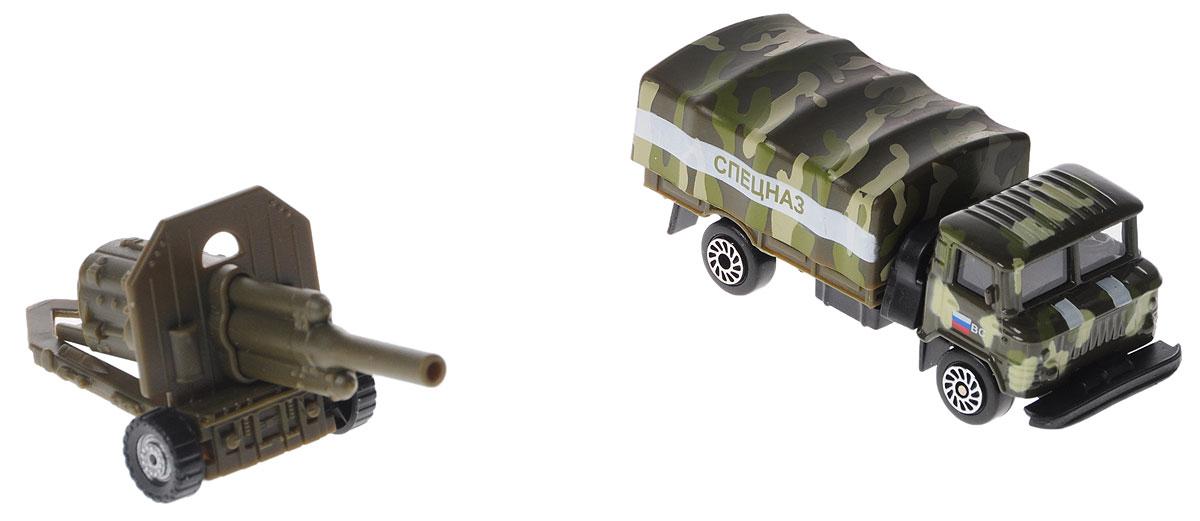ТехноПарк Газ 66 Спецназ с пушкойSB-15-59+60-WB_спецназМашина ТехноПарк Газ 66 Спецназ с пушкой отлично подойдет для коллекции военных машинок вашего ребенка. К грузовику в комплекте поставляется самоходная зенитная пушка, она цепляется к заднему фаркопу грузовика. Колеса машины и пушки обладают свободным ходом. Набор выполнен из металла с элементами из прочного безопасного пластика. Грузовик имеет вместительный кузов, закрытый съемным тентом. Ваш ребенок будет в восторге от такого подарка!