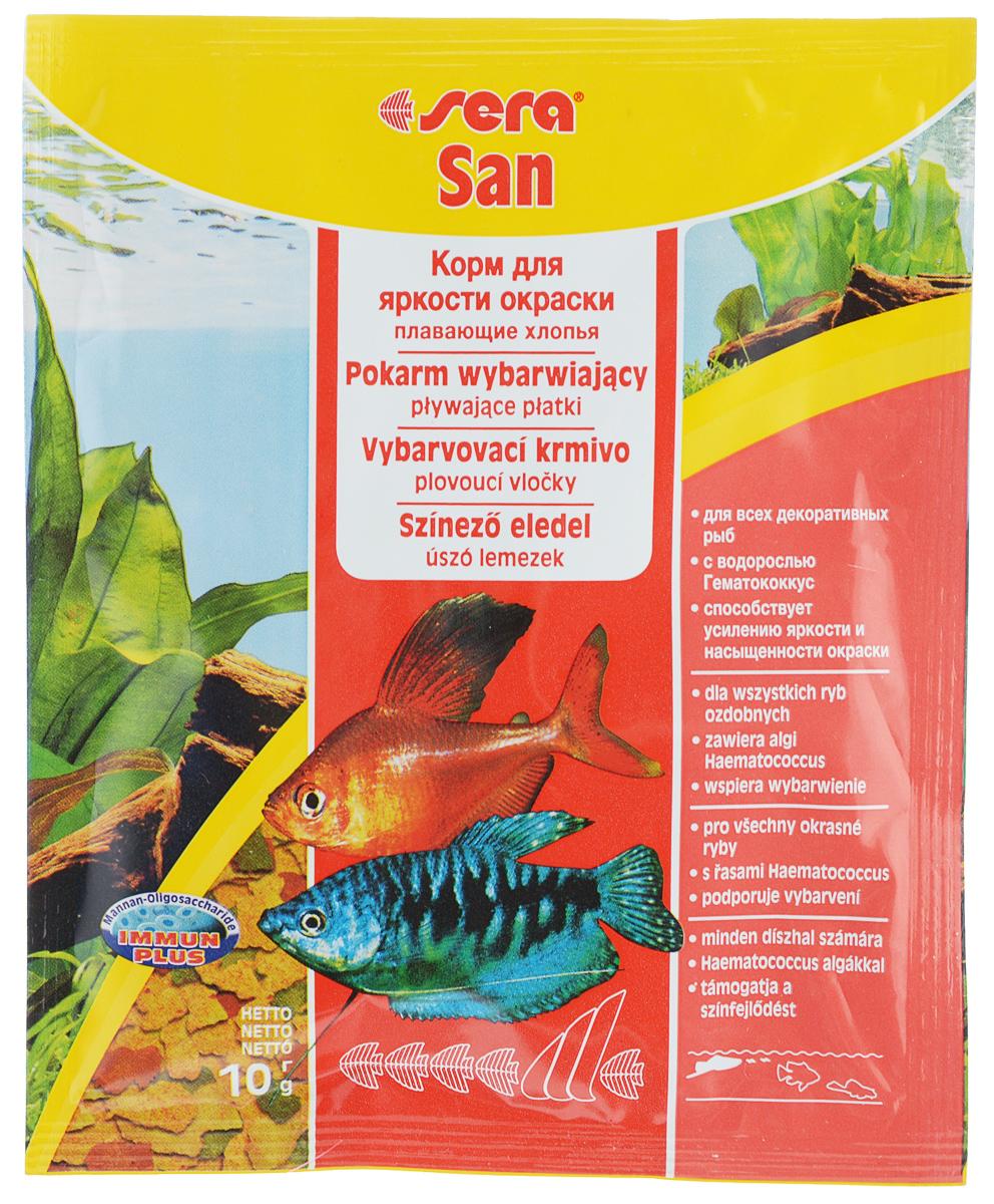 Корм для декоративных рыб Sera San, улучшение окраски, хлопья, 10 г15963Корм Sera San - корм для усиления яркости окраски всех видов рыб, кормящихся у поверхности воды. Состоит из хлопьев, произведенных путем бережной обработки сырья. Высококачественные ингредиенты корма, такие как водоросль Гаматококкус, усиливают яркость и насыщенность окраски рыб естественным путем. Хлопья не тонут долгое время, сохраняя свою форму, поэтому они поедаются полностью и не загрязняют воду. Полноценный состав из более чем 40 ингредиентов обеспечивает ежедневные потребности в питательных веществах типичного сообщества рыб. Товар сертифицирован.