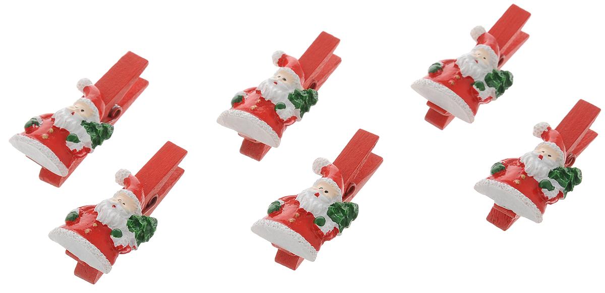 """Украшение новогоднее подвесное Феникс-Презент """"Санты с мешочками"""", 9,5 х 9 х 1,5 см, 6 шт 41829"""