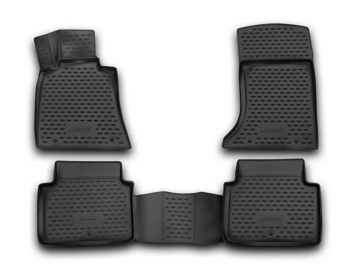 Набор автомобильных 3D-ковриков Novline-Autofamily для Hyundai Genesis, 2014->, в салон, 4 штORIG.3D.20.56.210Набор Novline-Autofamily состоит из 4 ковриков, изготовленных из полиуретана. Основная функция ковров - защита салона автомобиля от загрязнения и влаги. Это достигается за счет высоких бортов, перемычки на тоннель заднего ряда сидений, элементов формы и текстуры, свойств материала, а также запатентованной технологией 3D-перемычки в зоне отдыха ноги водителя, что обеспечивает дополнительную защиту, сохраняя салон автомобиля в первозданном виде. Материал, из которого сделаны коврики, обладает антискользящими свойствами. Для фиксации ковров в салоне автомобиля в комплекте с ними используются специальные крепежи. Форма передней части водительского ковра, уходящая под педаль акселератора, исключает нештатное заедание педалей. Набор подходит для Hyundai Genesis с 2014 года выпуска.