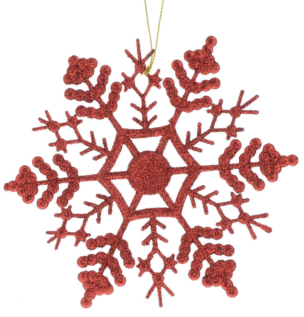 Украшение новогоднее подвесное Magic Time Снежинка-паутинка красная, 16,5 х 16,5 см38728Новогоднее подвесное украшение Magic Time Снежинка-паутинка красная выполнено из полипропилена в виде снежинки и украшено блестками. С помощью специальной петельки украшение можно повесить в любом понравившемся вам месте. Но, конечно, удачнее всего оно будет смотреться на праздничной елке. Елочная игрушка - символ Нового года. Она несет в себе волшебство и красоту праздника. Создайте в своем доме атмосферу веселья и радости, украшая новогоднюю елку нарядными игрушками, которые будут из года в год накапливать теплоту воспоминаний. Материал: полипропилен. Размер: 16,5 х 16,5 см.