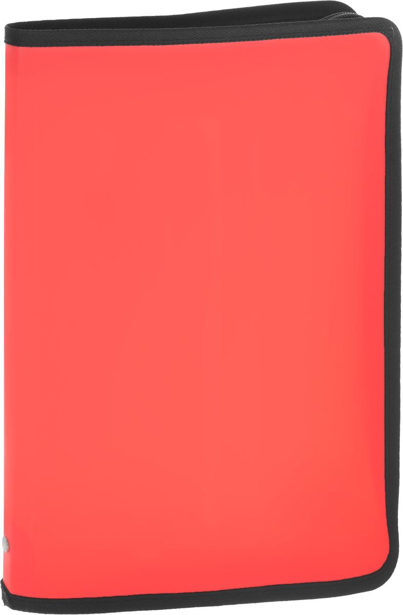 Папка А4 на молнии NEON, цвет: коралловый31012