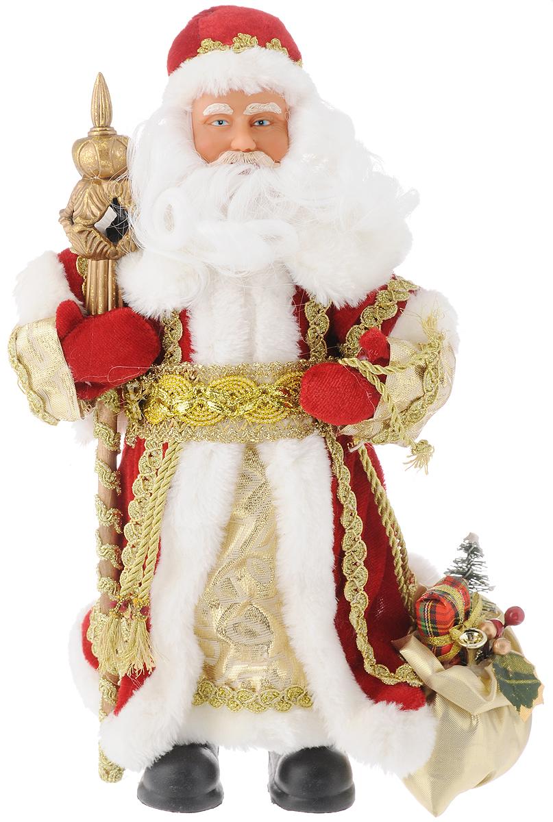 Фигурка новогодняя Феникс-Презент Дед мороз в красном костюме, 30 см39095Новогодняя декоративная фигурка Дед мороз в красном костюме прекрасно подойдет для праздничного декора вашего дома. Сувенир изготовлен из высококачественных материалов. Фигурка выполнена в виде деда Мороза с посохом и мешком подарков. Одежда из текстиля украшена красивым узором. Такая оригинальная фигурка оформит интерьер вашего дома или офиса в преддверии Нового года. Оригинальный дизайн и красочное исполнение создадут праздничное настроение. Кроме того, это отличный вариант подарка для ваших близких и друзей. Высота фигурки: 30 см.