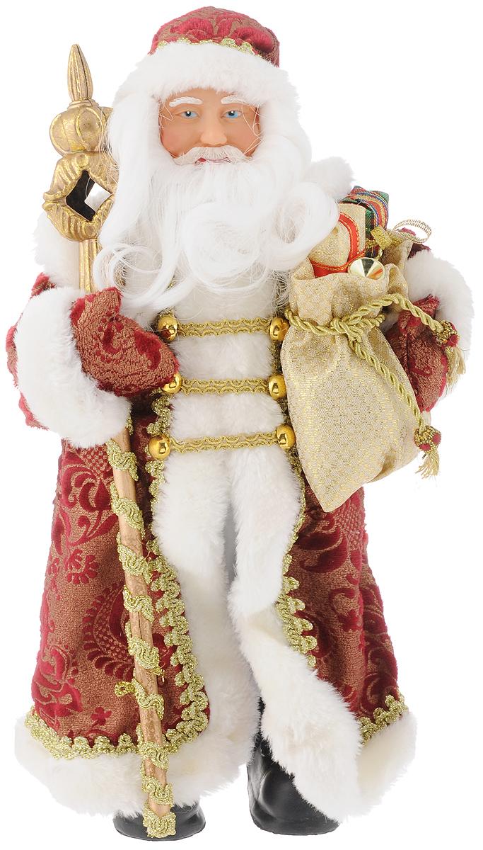 Фигурка новогодняя Феникс-Презент Дед мороз в бордовом костюме, 30см39096Новогодняя декоративная фигурка Дед мороз в бордовом костюме прекрасно подойдет для праздничного декора вашего дома. Сувенир изготовлен из высококачественных материалов. Фигурка выполнена в виде деда Мороза с посохом и мешком подарков. Одежда из текстиля украшена красивым узором. Такая оригинальная фигурка оформит интерьер вашего дома или офиса в преддверии Нового года. Оригинальный дизайн и красочное исполнение создадут праздничное настроение. Кроме того, это отличный вариант подарка для ваших близких и друзей. Высота фигурки: 30 см.